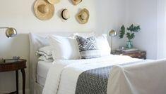 DIY slipcovered sleigh bed - Crazy Wonderful Wood Sleigh Bed, Sleigh Bed Frame, Sleigh Beds, Brown Bed Linen, Bedroom Makeover Before And After, Above Bed, Upholstered Beds, Guest Bedrooms, Master Bedroom
