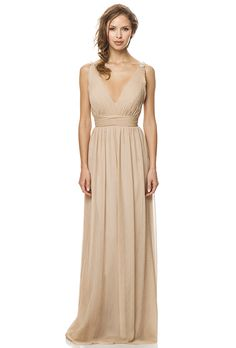 Bridesmaid: Bari Jay. V-Neck dress with pleated bodice and wasit band, with beaded strap detail.