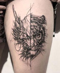 Dragon Tiger Tattoo dragon tattoo tattoo tattoo designs tattoo for men tattoo for women tattoo tattoo tattoo tattoo tattoo tattoo tattoo tattoo ideas big dragon tattoo tattoo ideas Dragon Tiger Tattoo, Tatoo Tiger, Tiger Dragon, Black Dragon Tattoo, Leg Tattoos, Black Tattoos, Body Art Tattoos, Turtle Tattoos, Tatoos
