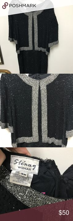 Stenay Vintage black/silver beaded gown Plus Size Stenay India beaded black/ silver sequence dress size 3X... built in jacket.. comfortable and flattering stenay Dresses Midi