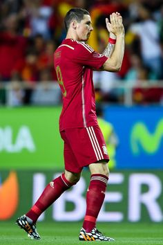 Fernando Torres of Spain celebrates after scoring the opening goal during an international friendly match between Spain and Bolivia at Estadio Ramon Sanchez Pizjuan on May 30, 2014 in Seville, Spain.