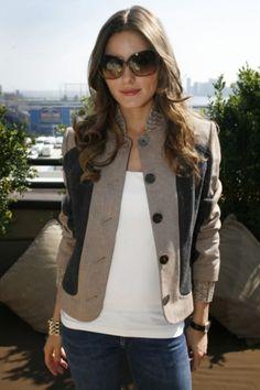 cute blazer, basic tee and jeans with jackie O sunglasses; weekend wear
