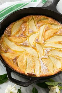 Pear custard pie in a cast iron skillet.