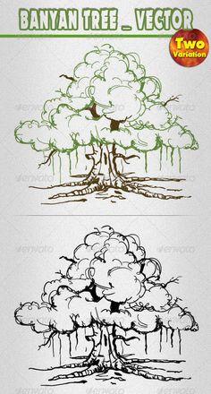 Banyan Tree Drawing For Kids Trendy Ideas Pine Tattoo, Plant Sketches, Tree Sketches, Tree Drawing For Kids, Drawing Ideas, Tree Graphic, Tree Logos, Tree Illustration, Vector Illustrations