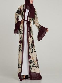 cdaf8de80d094 Deep Plum Blossom Abaya. Plaid Decor, Chiffon Ruffle, Ruffles, V Neck Dress  ...