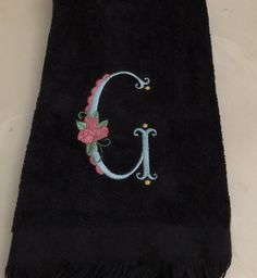 Embroidered Fingertip Towel,  Monogrammed Towels With Rose, Housewarming Gift, Gift For Her, Bathroom Decor