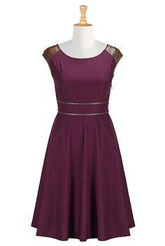 I <3 this Faux leather trim poplin dress from eShakti