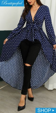 Dot Print Ruffles Dip Hem Blouse Classy Dress, Classy Outfits, Chic Outfits, Fashion Outfits, Latest African Fashion Dresses, Stylish Dresses, Blouse Designs, Ideias Fashion, Clothes For Women