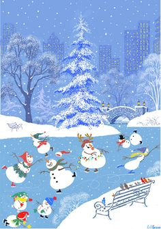 ☆ It's Christmas time in the city ~ Snoopy Christmas, Merry Little Christmas, Vintage Christmas Cards, Blue Christmas, Christmas Pictures, Christmas Snowman, Christmas Time, Christmas Things, Christmas Tattoo