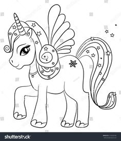 Cute cartoon fairytale unicorn - coloring page for kids