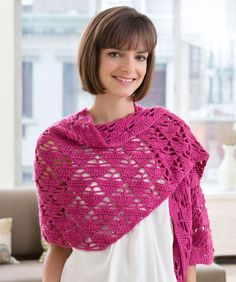 The perfect combination of pretty pattern stitch and vibrant colour. Crochet it to wear any season of the year! Redheart UK free pattern.