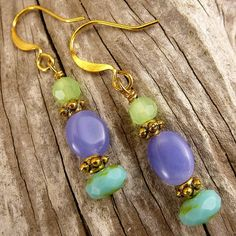 Purple Green & Turquoise Gemstone and Glass by EarthsHousehold