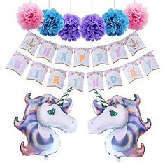 AMZTM Unicorn Themed Birthday Party Decorations Kit 1 Pie... Unicorn Birthday Decorations, Unicorn Themed Birthday Party, Birthday Party Themes, Unicorn Party Supplies, Party Flags, Banner Backdrop, Baby Shower Parties, Shower Party, Backdrops For Parties