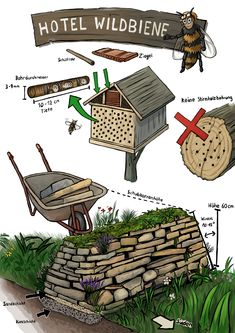 Insect nesting aids & dry stone walls - flowering meadows and nesting . - Insect nesting aids & dry stone walls – Create flowering meadows and nesting aids … Insect … – Garden – # Flowering meadows nesting aids Marigolds In Garden, Herbs Garden, Wooden Arbor, Bug Hotel, Compost, Dry Stone, Pergola Canopy, Square Foot Gardening, Companion Planting