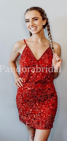 Shinny Red Sequin Spaghetti Straps Zipper Up Homecoming Dresses, Cockt – PandoraBridal Freshman Homecoming Dresses, Homecoming Dresses Tight, Two Piece Homecoming Dress, Short Dresses, Formal Dresses, Long Sleeve Backless Dress, Stunning Dresses, Dream Dress, Cocktail Dresses