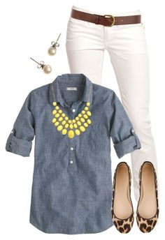 White pants, denim shirt, statement necklace, brown belt, and stud earrings. I have this outfit sitting in my closet and never put the pieces together! Mode Outfits, Casual Outfits, Casual Friday Work Outfits, J Crew Outfits, Looks Jeans, Outfit Des Tages, Teaching Outfits, Mode Jeans, Looks Style