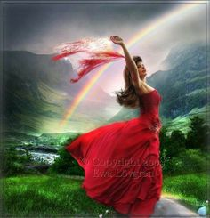 The Dance Of Life, woman dancing praising the Lord, prophetic art with rainbow.