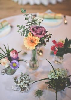 Rustic florals and cute succulents make great centerpieces.