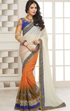 Picture of Impressive Off White and Mustard Color Designer Saree for Wedding