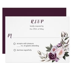 Purple Plum Pink Peonies Bouquet Greenery RSVP #2 Card - rsvp gifts card cards diy unique special