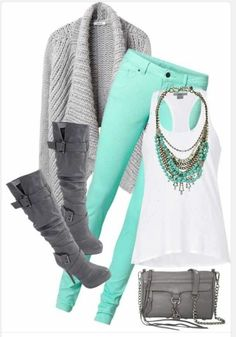 I'm a fan of this outfit! I love that the gray and white allow for the mint green jeans and necklace to pop and be the accent pieces of the outfit. I also think that this outfit can also be played up, and also made super casual at the same time. Komplette Outfits, Casual Outfits, Fashion Outfits, Womens Fashion, Fashion Clothes, Style Clothes, Ladies Fashion, Cute Fashion, Look Fashion