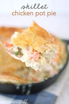 Skillet Chicken Pot Pie Recipe from http://SixSistersStuff.com  top with puff pastry.  use 9 x 9 pan