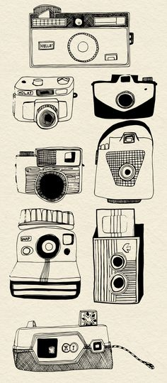 cameras - beautiful lineart from my sweet friend @ingramzoe