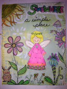 """week 1 prompt """"Somewhere a simple place"""" Art Journal Pages, Art Journaling, Smash Book, Mixed Media Art, Prompts, Paper Art, Colours, Ink, Simple"""