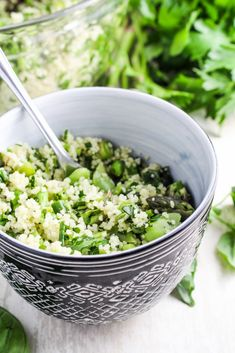 Herb-Flecked Spring Couscous by katieatthekitchendoor #CouscousPeas #Asparagus #Basil #Parsley #Chives #Lemon #Fava_Beans