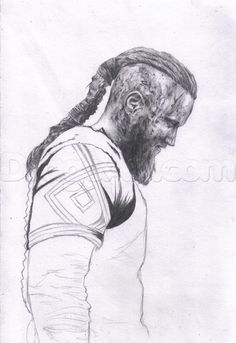 how to draw ragnar lothbrok from vikings step 11