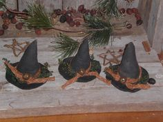Set of 3 Primitive Grungy Halloween Olde Witch Hats by ChooseMoose