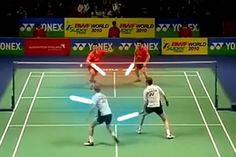 Badminton Star Wars Style With Light Sabers