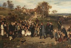 "Lot 263 from our November 10-11, 2012 Auction - Ludwig Knaus  (German, 1829-1910) ""Spreading Peace"", 1867, Otto Von Bismark and his Prussian officers touring a village after the Austro-Prussian War of 1866, signed lower left ""L. Knaus 1867"", oil on canvas, 32 x 46-1/2 in. - Estimate $20,000 to $30,000"