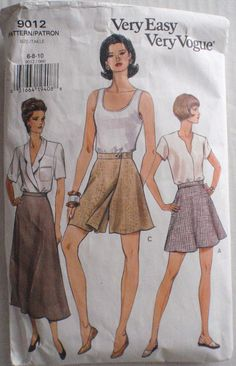 Vogue 9012  Very Easy Skirt and Shorts Sewing by Shelleyville