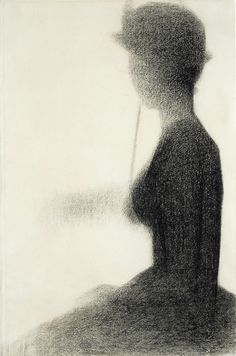 Seurat, seated woman with parasol, 1884-85, Conte Crayon on paper