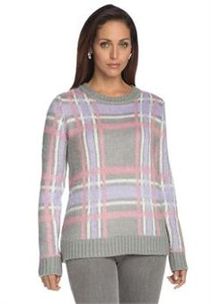 Plus Size Plaid Crewneck Sweater