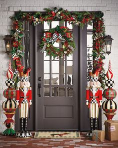 MacKenzie-Childs Moose On Parade Entrance Mat Front Door Christmas Decorations, Christmas Front Doors, Christmas Wreaths, Holiday Decor, Farmhouse Christmas Decor, Christmas Home, Christmas Crafts, Xmas, Christmas Porch Ideas