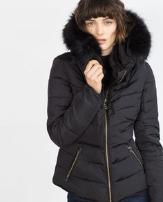 Image 2 of QUILTED COAT WITH DETACHABLE HOOD from Zara
