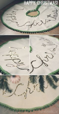 Happy Christmas Tree Skirt by The Paper Mama, via Flickr - gonna make a variation of this with red pom poms and different wording using a linen/burlap type fabric.