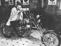 John Bonham of Led Zeppelin on his Triumph chopper. #LedZeppelin #motorcycles