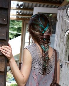 Fishtail braid with blue streaks  ive always wanted strange highlights like this in my hair