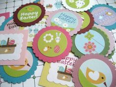 Easter Bunny Rabbit Egg Tags  Set of 12 by adorebynat on Etsy, $3.75