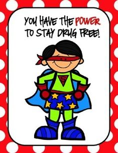 """Are you expected to implement a Red Ribbon Week Unit for your school on an extremely small budget? Then here is just what you need....  The theme of this Red Ribbon Week collection is """"You Have the Power to Stay Drug Free""""  This download includes: -8 Superhero Themed Printable Posters -Printable Front & Back Bookmarks  -Superhero Themed Crossword Puzzle -Superhero Themed Word Search - 2 Writing Prompts"""