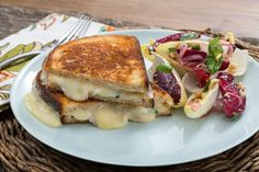 Fontina & Basil Grilled Cheese Sandwiches with Summer Stone Fruit & Endive Salad. Visit https://www.blueapron.com/ to receive the ingredients.