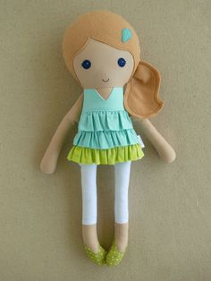 Fabric Doll Rag Doll Blond Haired Girl in Aqua Blue by rovingovine
