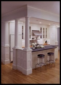 Trendy Kitchen Island With Columns Posts Load Bearing Wall Kitchen Redo, Home Decor Kitchen, Kitchen Layout, New Kitchen, Kitchen Remodel, Kitchen Ideas, Cooper Kitchen, Kitchen Pass, Condo Remodel