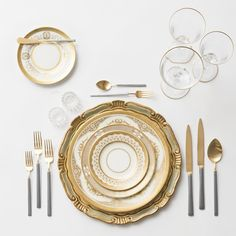 Florentine Chargers in Sage/Gold + Crown Gold Collection Vintage China + NEW Axel Flatware in two-toned 24k Gold/Brushed Silver finish + Gold Rimmed Stemware + Antique Crystal Salt Cellars | Casa de Perrin Design Presentation