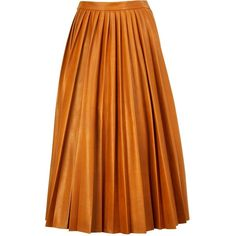 By Malene Birger Asla Pleated Leather Look Skirt ($350) ❤ liked on Polyvore featuring skirts, bottoms, юбки, tan, midi skirt, faux leather skirt, calf length skirts, orange skirt and fake leather skirt