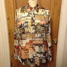 Designer Elliott Lauren sheer print ladies shirt 1980s - size 10/12 - £28 #vintageguru #vintage #elliottlauren #sheer #print #ladies #womens #shirt #blouse #print #designer #glasgow #scotland #uk #byresroad #fashion #style #trend #80s #1980s #city #cities #twitter #instagram #fashionable