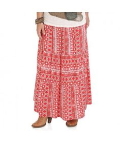 a2c6f2d7476 Wrangler Premium Maxi Printed Skirt with Belt - Flamequartz   Whisper White